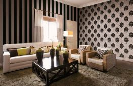 Комбинированные обои для зала: фото идеи дизайна гостиной, варианты комбинирования