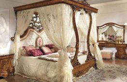 Идеи обустройства королевской кровати с балдахином в спальнях разного стиля