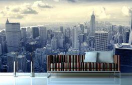 Особенности выбора обоев: изображение города на стене различных помещений