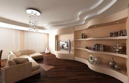 Особенности оформления в гостиной потолка из гипсокартона