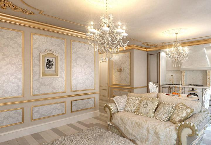 молдинги в гостиной барокко
