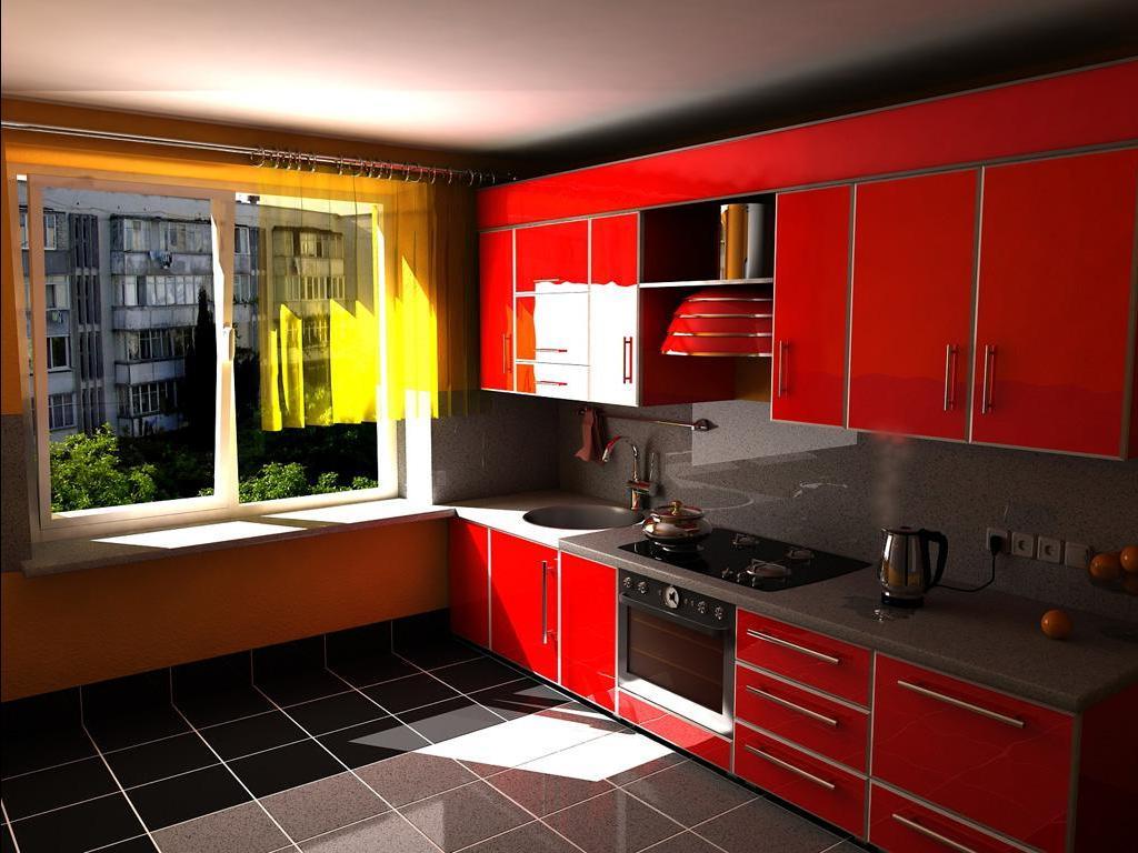 кухня в красный тонах