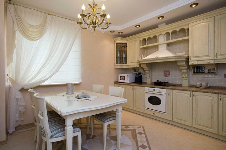 шторы для классической кухни