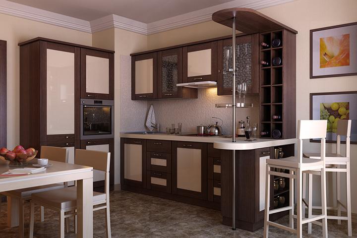 кухня с небольшой барной стойкой