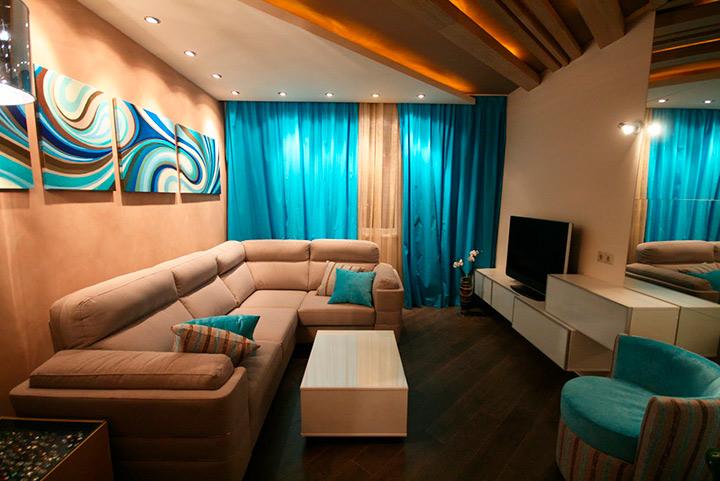 бежево голубая гостиная