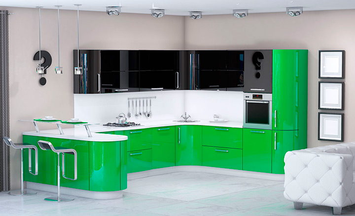 зеленая кухня с черным