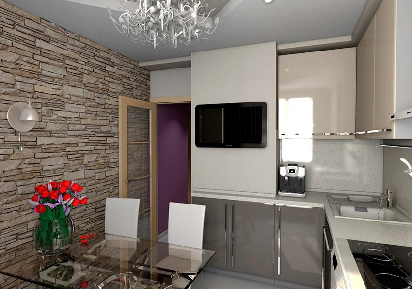 Дизайн кухни с вентиляционным коробом, выступом и шахтой в углу – фото проекты в п 44