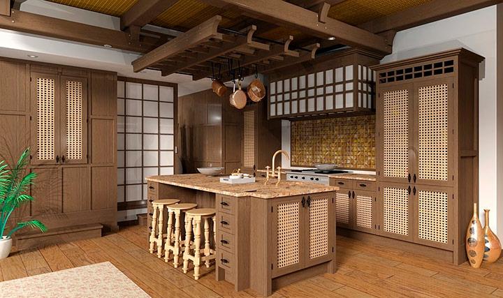 отделка кухни в японском духе