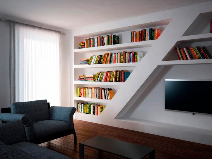 полки для книг в интерьере