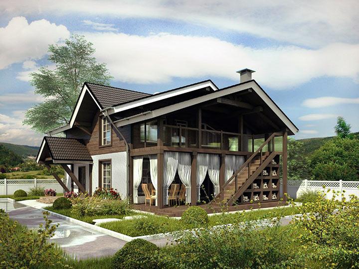 дом шале с панорамными окнами