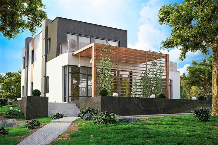 двухэтажный дом хай-тек