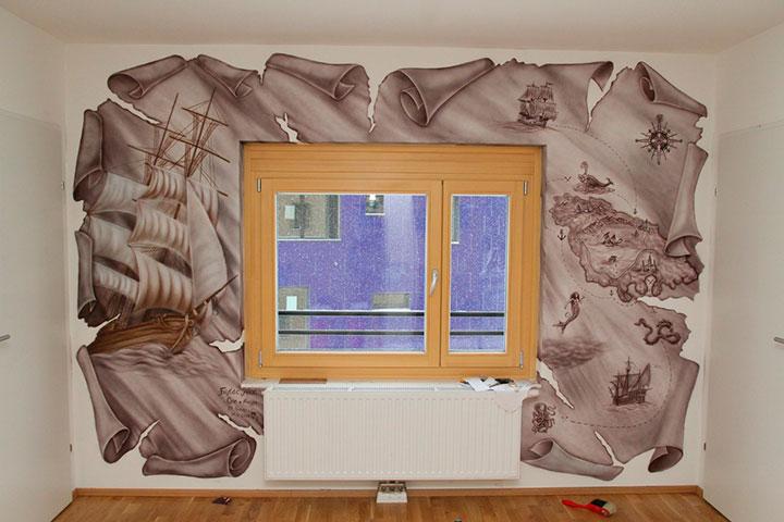 рисунок на стене вокруг окна